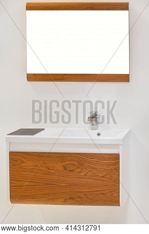 Wooden Mirror And Wall Mounted Cabinet In Bathroom