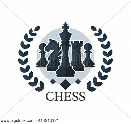 Chess Vector Emblem. Chess Pieces: King, Knight, Rook, Pawns With A Wreath. Vector Illustration Isol