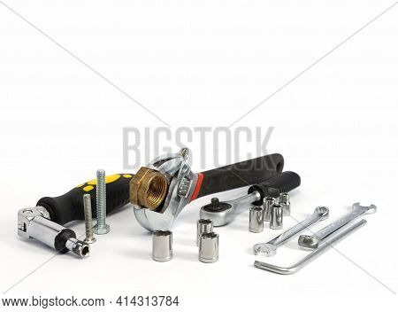 Repair Tools And Various Parts On A White Background