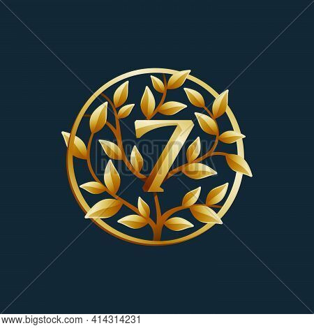 Golden Tree Number Seven Logo. Vintage Circle Vector Emblem. Premium Typeface For Real Estate Layout
