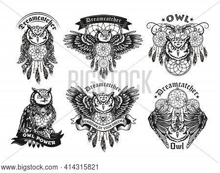 Retro Label Designs With Owls And Dreamcatcher Vector Illustration Set. Vintage Badges With Flying N