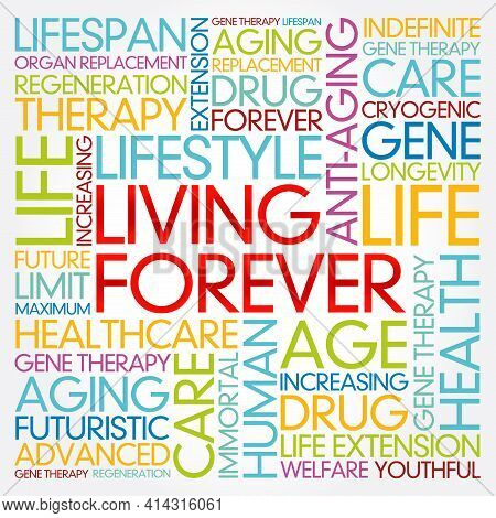 Living Forever Word Cloud Collage, Health Concept Background