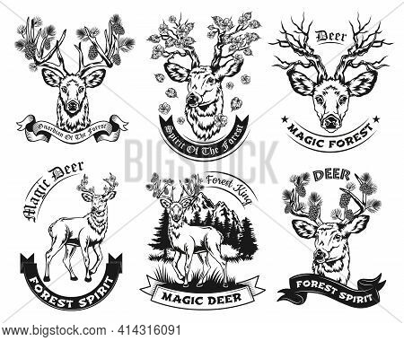 Ethnic Vintage Black And White Deer Vector Illustrations Set. Isolated Graphic Sketches Of Deer With