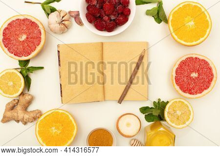 Healthy Products And Notepad, Immunity Boosters Notes Background Top View.