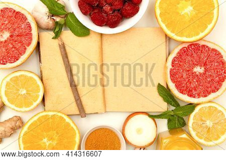 Set Of Natural Fruits And Vegetables, Notepad With Copy Space. Boost Immune System Background Top Vi
