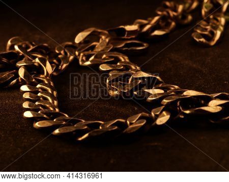 Necklace Chain On Black Background, Silver Chain