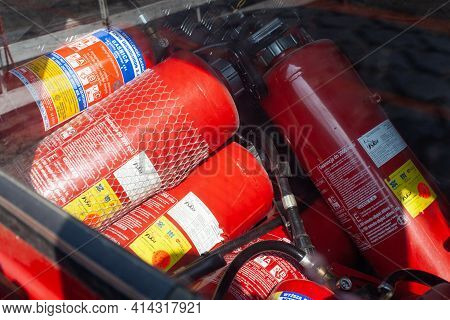 Poznan, Poland - March 26, 2021: Group Fire Extinguishers In A Fire Truck.