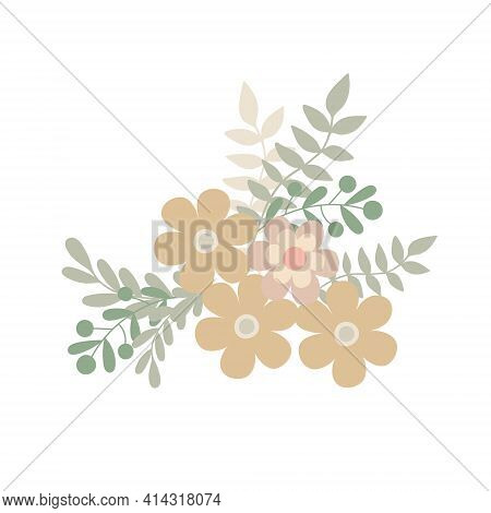 Simple Flowers Pastel-colored Floral Arrangement Of In Flat Style Vector Illustration, Symbol Of Spr