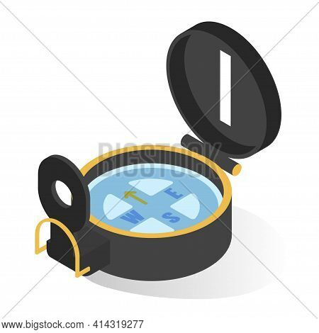 Compass For Travelling, Hiking And Voyage Isometric Icon. Device Showing Geographic Directions.