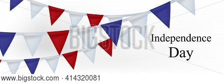 4th Of July, American Independence Day Celebration Greeting Card With Bunting In National Flag Color