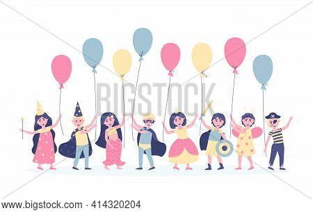 Children With Balloons In Carnival Costumes For Their Birthday. To Participate In The Holiday, Girls