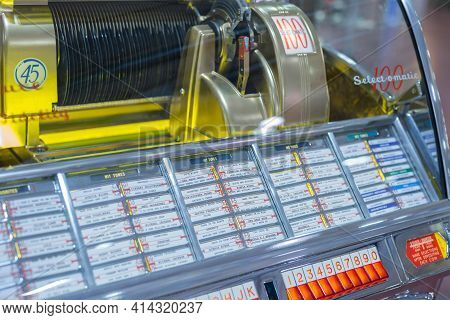 Parma, Italy - October 2020: Details Of Retro Jukebox: Music And Dance In The 1940s Andn1950s.