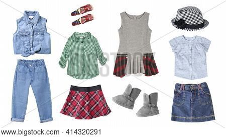 Child's Clothes Isolated On White.kid's Clothing Collage.girl's Wear.colorful Fashion Apparel.