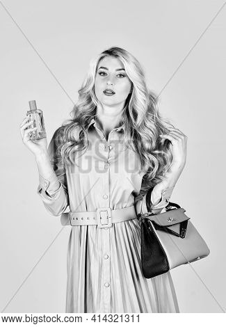 Owner Of Fragrance Is Young Modern Lady Who Keeps Up To Date. Stylish Girl With Purse. Attractive Wo