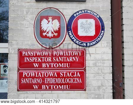 Bytom, Poland - February 13, 2021: Epidemiological Station Of Panstwowa Inspekcja Sanitarna (state S