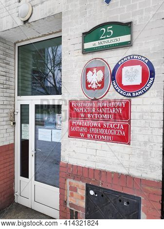 Bytom, Poland - February 13, 2021: Epidemiological Station (sanepid) Of Panstwowa Inspekcja Sanitarn