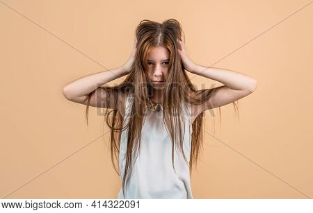Sad Teen Girl Touch Hair. Upset Child Having Headache. Migraine.