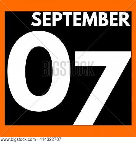 September 7 . Modern Daily Calendar Icon .date ,day, Month .calendar For The Month Of September