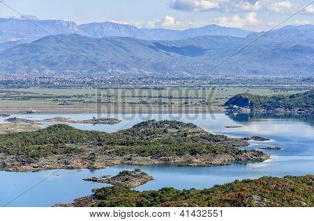 Scenic view of the Slansko lake in Montenegro poster