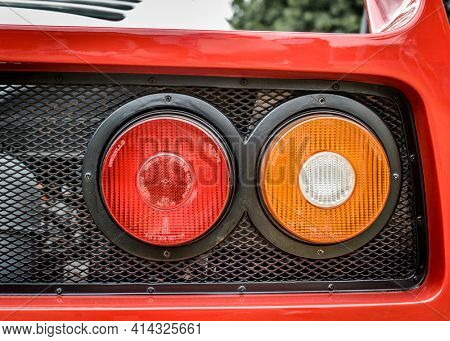 LONDON, UK - CIRCA JUNE 2014: Ferrari F40 tail lights detail shot.