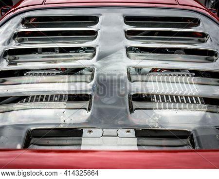 LONDON, UK - CIRCA JUNE 2014: Ferrari F40 rear glass, engine visible through the openings