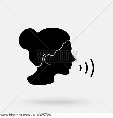 Voice Command Control With Sound Waves Icon. Speaking Logo With Black Woman Head Silhouette.