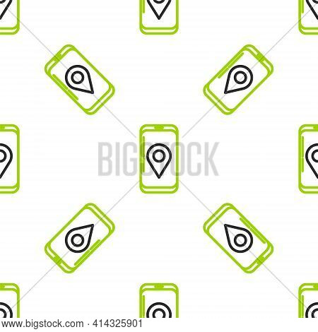 Line Mobile Smart Phone With App Delivery Tracking Icon Isolated Seamless Pattern On White Backgroun