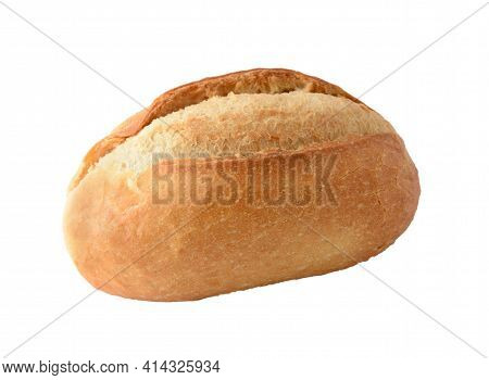 Traditional Baked Plain Soft Bun Isolated Over White Background.