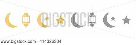 Ramadan Icons Set On Long Banner. Gold And Gray Lanterns, Crescent And Stars. Ramadan Kareem Greetin