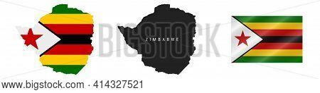 Zimbabwe. Map With Masked Flag. Detailed Silhouette. Waving Flag. Vector Illustration Isolated On Wh