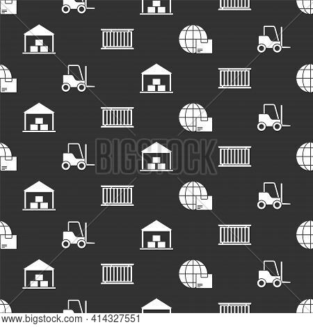 Set Worldwide Shipping And Box, Forklift Truck, Warehouse And Container On Seamless Pattern. Vector