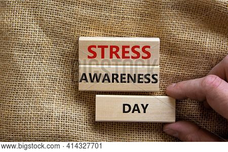 Stress Awareness Day Symbol. Wooden Blocks With Words 'stress Awareness Day'. Beautiful Canvas Backg