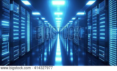 Data Center With Endless Servers. Network And Information Servers Behind Glass Panels. Cloud Computi