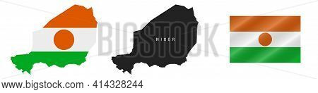 Niger. Map With Masked Flag. Detailed Silhouette. Waving Flag. Vector Illustration Isolated On White