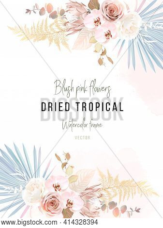 Trendy Dried Palm Leaves, Blush Pink And Ivory Rose, Pale Protea, White Orchid, Gold Fern