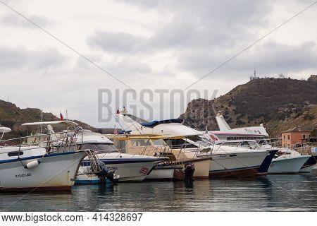 Boats And Yachts Near The Pier In The Bay Of Balaclava, Crimea