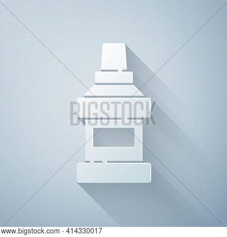 Paper Cut Mouthwash Plastic Bottle Icon Isolated On Grey Background. Liquid For Rinsing Mouth. Oralc