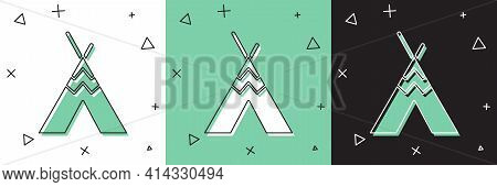 Set Traditional Indian Teepee Or Wigwam Icon Isolated On White And Green, Black Background. Indian T
