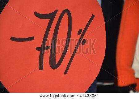 Seasonal discount 70 percent