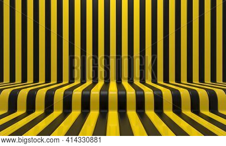 Realistic Abstract Geometric Background With Black And Yellow Convergence Stripes With Shadows And G