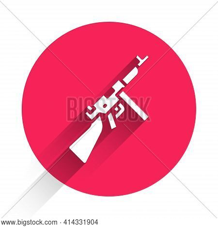 White Thompson Tommy Submachine Gun Icon Isolated With Long Shadow. American Submachine Gun. Red Cir