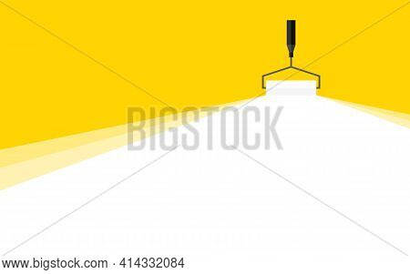 Abstract Background. Banner For Advertising. White Painting Roller Yellow Background. Roller With A