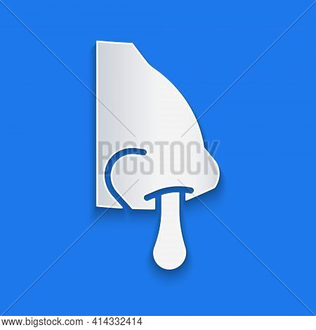 Paper Cut Runny Nose Icon Isolated On Blue Background. Rhinitis Symptoms, Treatment. Nose And Sneezi