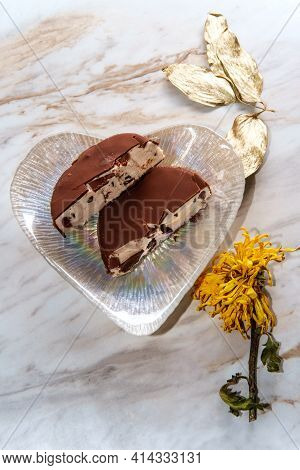 Chocolate Covered Cherry Icecream Bar Served On A Romantic Heart Shaped Plate For Valentine's Day