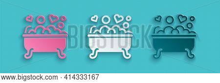 Paper Cut Romantic In Bathroom Icon Isolated On Blue Background. Concept Romantic Date. Romantic Bat