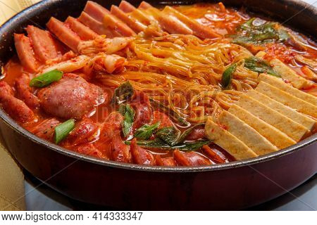 Korean Comfort Food Army Base Stew Also Known As Budae-jjigae With Sausage Tofu And Canned Ham