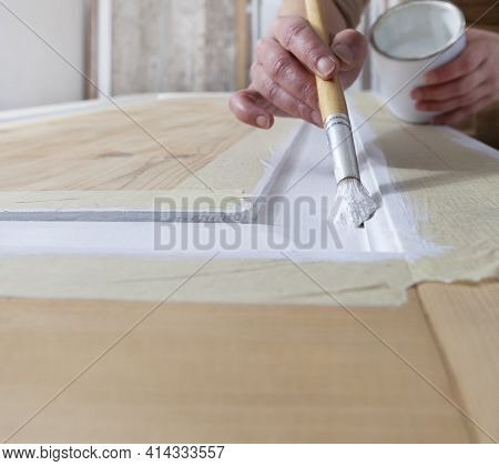 Wood Crafts, Close Up Hands Woman Artisan Carpenter Painting With Brush And Paint Jar White The Door