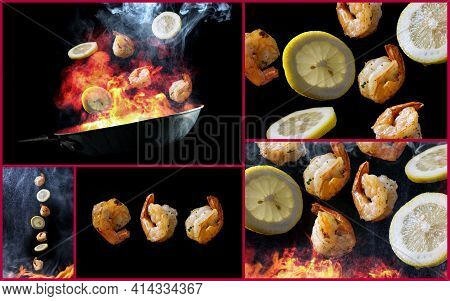 Stir Frying And Tossing Shrimp With Sliced Lemon Concept With Steam Smoke And Flames As Collage