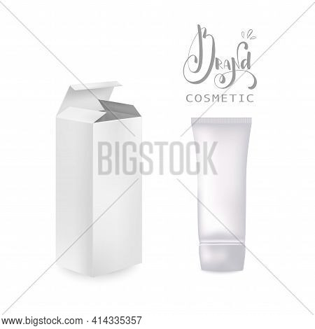Cream Tube And Packaging. Ointment Or Toothpaste Box Mockup 3d.