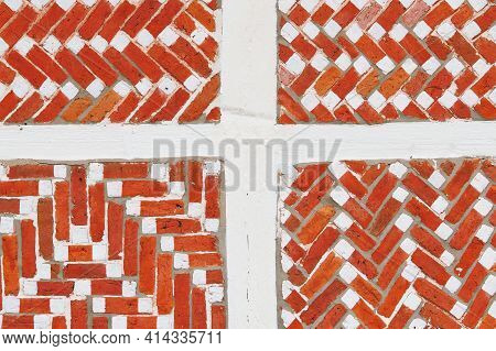 Wall Detail With Red Bricks And White Beams At A Dutch Countryside House